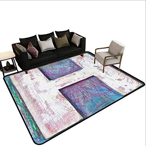 MsShe Conferentiekamer tapijt Letter H,H met Grungy Texture Houten Typeset ABC Karakter Oude Beschadigde Blok Beeld, Multi kleuren