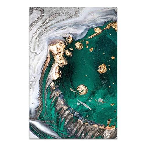 Kunstdruk op canvas, vlies, modern, creatief, abstract, groen, goudkleurig, folie, wandafbeelding, decoratie 60x90cm(23.6