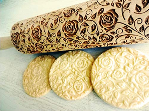 DAMASCUS ROSES WOODEN EMBOSSING ROLLING PIN LASER ENGRAVED DOUGH ROLLER with ROSES WREATH PATTERN GIFT for BIRTHDAY MOTHER'S DAY