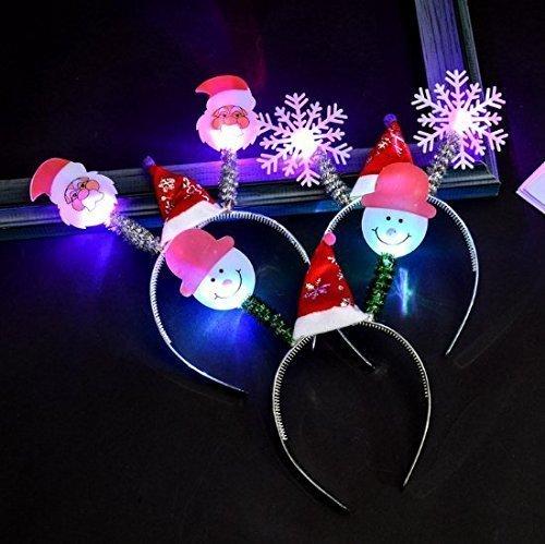 UChic Lot de 4 bandeaux LED lumineux lumineux et lumineux, chapeau de Noël, flocon de neige, père Noël, clignotant, coiffe de Noël, anniversaire, fête, événement, style aléatoire