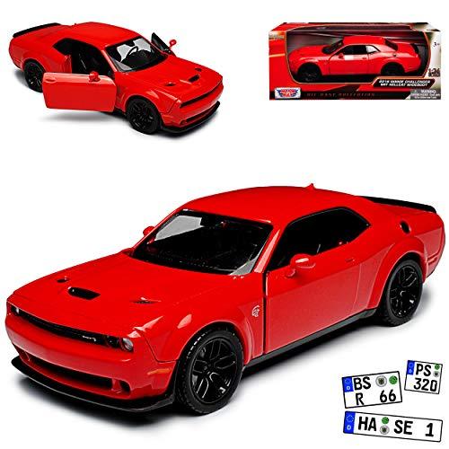 Motormax Dodge Challenger SRT Hellcat Widebody LC Coupe Rot Ab 2008 1/24 Modell Auto mit individiuellem Wunschkennzeichen