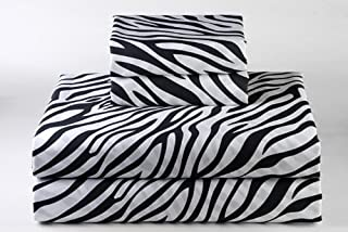 4 PCs Bed Sheet Set - 100% Egyptian Cotton - 600 Thread Count - 16 Inch Deep Pocket of Fitted Sheet - Zebra Print, Queen Size