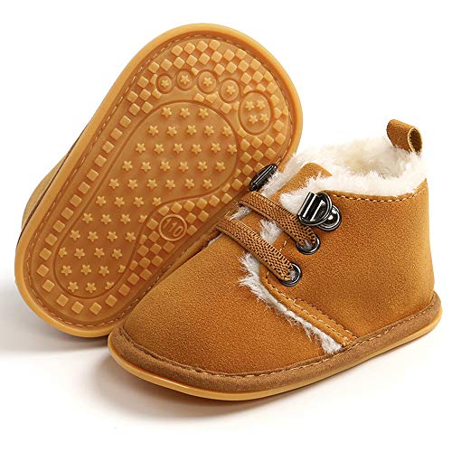LAFEGEN Newborn Baby Booties Boys Girls Shoes Warm Winter Faux Fur Lining Non-Slip Lace Up Infant Toddler First Walker Crib Boots, 6-12 Months Infant, 02 Light Brown