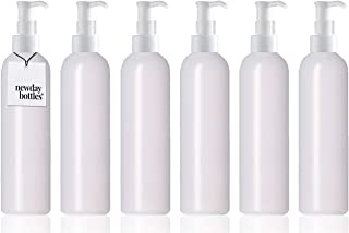 Newday Bottles, Empty Plastic Bottles with Pump Dispenser Translucent BPA-Free (6 oz, Natural, Pack of 6)