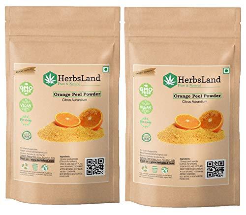 HerbsLand® Pure & bio Organic Vitamin C Orange Peel Powder (Citrus Aurantium) (Santra Chilka) for Skin Whitening | Face Pack and Hair Pack (100 gm)