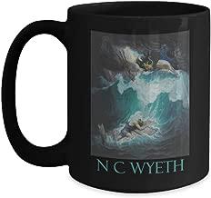 The Raft of Odysseus by N C Wyeth - Ceramic Coffee Mug