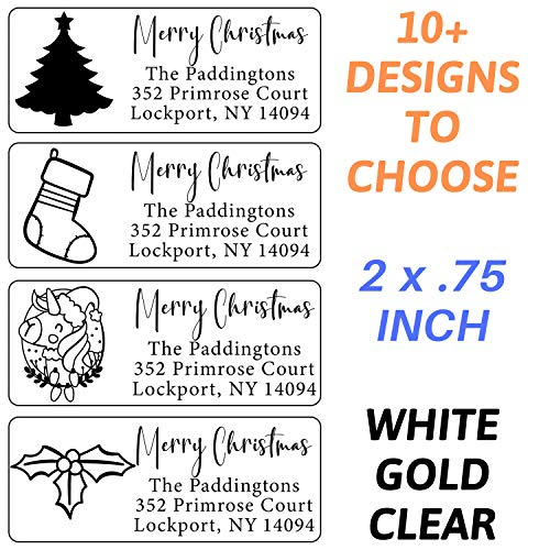 Christmas Address Labels Roll 50 100 250 500 Custom Personalized Stickers Xmas Tree Santa Happy Holidays Family Business Clear White Gold Silver Return Customized Mail Wedding (White Labels)