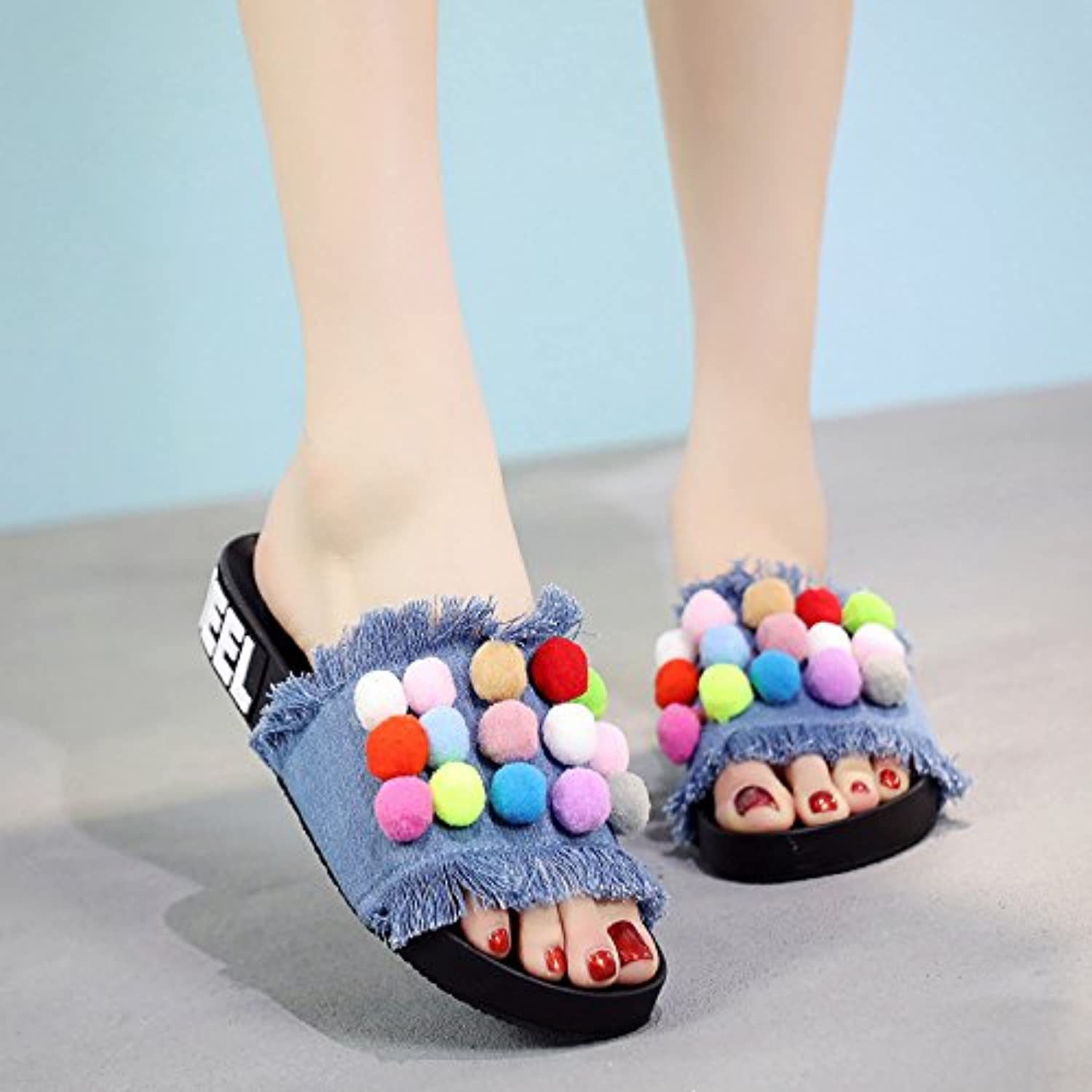XKNSLX Casual Flat Sandals Summer New Denim Slippers Plain and Thick Sandals