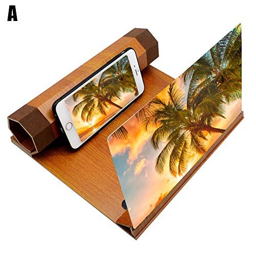 Kafengf Lupa de pantalla de 12 pulgadas HD, lupa de pantalla de teléfono plegable de grano de madera, pantalla de proyección de lupa 3D para ver una película