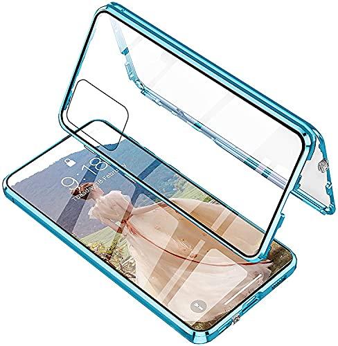 Funda para Xiaomi Mi 11 Lite 4G/5G,Carcasa Adsorción Magnética,360 Grados Protección Transparente Caso,El Vidrio Templado Transparente Delantero y Trasero la Carcasa de Metal a Prueba de Golpe