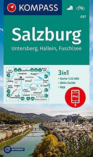 KOMPASS Wanderkarte Salzburg, Untersberg, Hallein, Fuschlsee: 3in1 Wanderkarte 1:25000 mit Aktiv Guide inklusive Karte zur offline Verwendung in der ... (KOMPASS-Wanderkarten, Band 17)