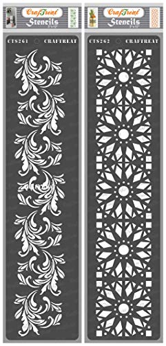 CrafTreat Floral Border Stencils for Painting on Wood, Canvas, Paper, Fabric, Floor, Wall and Tile - Border5 and Border6 - 2 Pcs - 3x12 Inches Each - Reusable DIY Art and Craft Stencils Borders