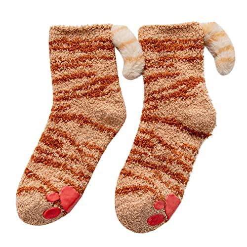 Calcetines para mujer, calcetines de punto térmicos, cálidos de invierno, calcetines de terciopelo, calcetines para pantuflas de forro polar de coral, calcetines suaves para mujer, b, F