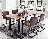 SalesFever Essgruppe Baumkanten-Tisch aus Akazie und Armlehnstühle Alessia Tisch 160x85 cm + 4 hellbraune Stühle, Cognac/Schwarz