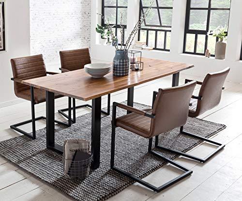 SalesFever Essgruppe Baumkanten-Tisch aus Akazie und Armlehnstühle Alessia Tisch 180x90 cm + 6 hellbraune Stühle, Cognac/Schwarz