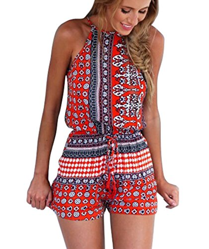 Ayliss Women's Sexy Cut Out Back Bohemian Casual Loose Romper Playsuit,Red M