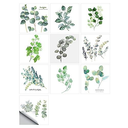 vinilos pared,10 piezas de pegatinas de baldosas duras de cristal de plantas pequeñas, baño de cocina, decoración del hogar, pegatinas de pared autoadhesivas, 10 cm