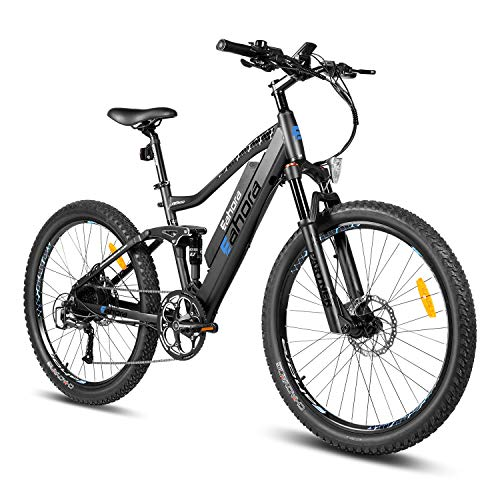 eAhora AM100 27.5 Inch 48V Mountain Electric Bike Hydraulic Brakes Full Air Suspension, Cruise Control 350W Electric Bikes for Adults with Removable Battery, E-TECH Recharge System, 9-Speed Gear