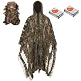 Nswdhy Camo Suits Ghillie Suits 3D Leaves Woodland Camouflage Clothing Army Sniper Military Clothes and Pants for Jungle Hunting, Shooting, Airsoft, Wildlife Photography, Halloween
