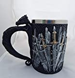 """Gift2Smile Medieval Dragon Iron Throne Of Swords Mug Beer Stein Tankard Coffee Cup 5.25""""H Superior Gift"""