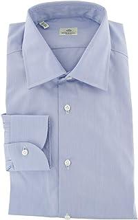 Luigi Borrelli パターンボタンダウン コットン スリムフィット ドレスシャツ