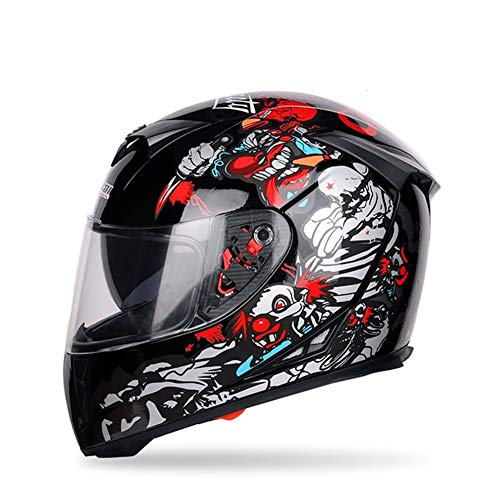 WWJJE Casco Integral de Moto ECE Casco Plegable de Moto, Off-Road Racing, Motocross, para Honda/Yamaha/Suzuki/Kawasaki, Bandit Helmet.-Black-M