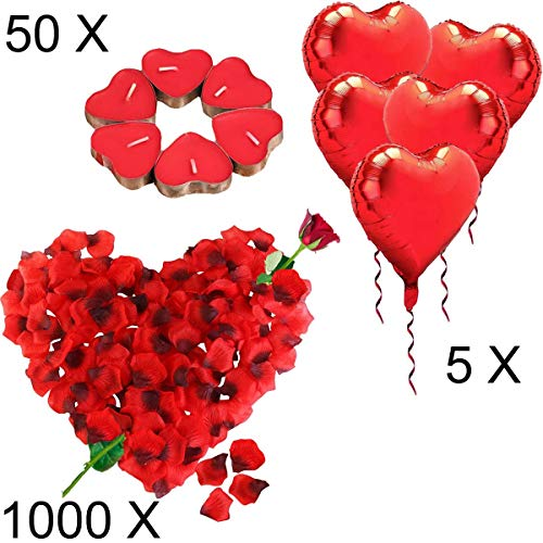 Jonami Kit Romántico de Velas y Pétalos. 50 Velas en Forma de Corazón + 1000 Pétalos de Rosa Roja de Seda + 5 Globos Corazón Rojo - Decoración para Bodas, San Valentín y Compromiso