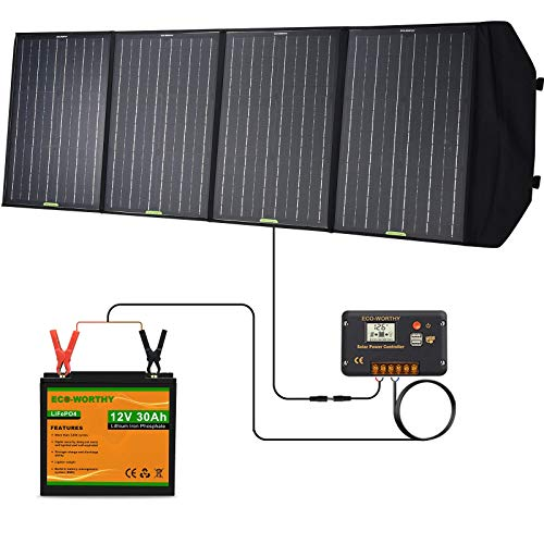 ECO-WORTHY 120W Portable Solar Panel with 30Ah, 360Wh Backup Lithium Battery and 20A Charge Controller, Solar Generator Power Station for Outdoors Camping Travel Emergency