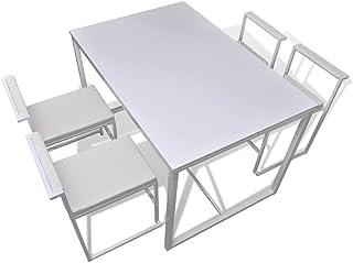 Tidyard Design Conjunto de Mesa de Comedor y sillas, 6#, 5 Piezas Blanco