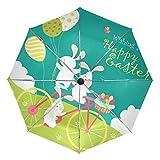 Happy Easter Huevos de Pascua Conejo Bicicleta Paraguas Compacto Viaje, Lluvia al aire libre sol Coche Paraguas Plegable Reversible Paraguas para Resistente al viento, Toldo Reforzado, Protección UV, Mango Ergonómico, Apertura/Cierre Automático