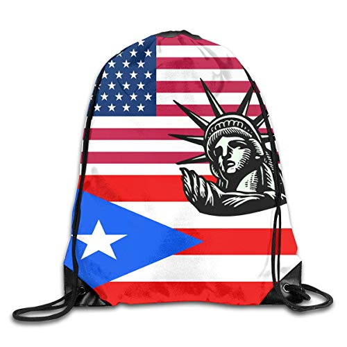 JIMSTRES Unisex Statue Liberty Usa Puerto Rico Flag Drawstring Bag Drawstring Backpack Gym Bag 100% Polyester Material Travel Bag For Men Women