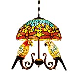 Makenier Tiffany Style Chandelier Ceiling Light Fixture Hanging Pendant Light for Sitting Room Bedroom Stainded Glass Vintage Antique Style 16' Handcrafted Shade (Dragonfly Dome+2 Parrot Bird Shades)