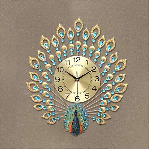 Tierform Wanduhr Pfau Uhr, Wohnzimmer Wanddekoration Stumm Wanduhr, Luxus Kristall Diamant Handwerk Uhr Wanduhr Ohne tickgeräusche Quarzuhr