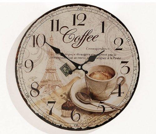 levandeo Wanduhr Holz MDF - Motiv: Coffee Kaffee Cafe Espresso Cappuccino - Küchenuhr Holzuhr Uhr Größe 34cm rund