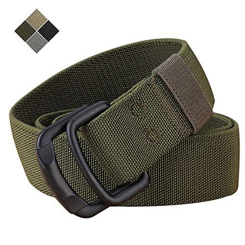 """TENINE Cinturón Elástico, Cinturones Para Hombre Mujeres Cinturón Táctico Cinta Cinturones de Lona Estilo Militar D Anillo Hebilla 1.5"""" Invisible Ajuastable Correa de Cintura (Ejercito Verde 02)"""