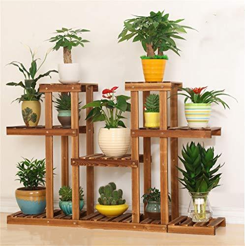 WYJW Bloemenframe/Plantenstandaard voor buitengebruik/Pine bloempot met corrosiebescherming/Multilayer, 4-traps symmetrische Stand Bloemenplanken standaard Bloemenstandaard voor de woonkamer balkon I