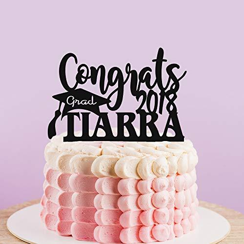 Gepersonaliseerde Graduation Cake Topper met Grad/Jaar, Aangepaste Graduation Party Decor, Dokterhoed Silhouette Topper met Naam, Gefeliciteerd Grad