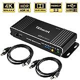 TESmart 2 Ports HDMI KVM Switch,4K Ultra HD mit 3840 x 2160 bei 60 Hz 4:4:4;2 Stck 5ft/1,5m KVM-Kabel unterstützt USB-2.0-Gerätebedienung bis max. 2 Computer/Server/DVR-Mattschwarz