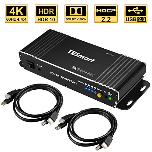 TESmart 2 Ports HDMI KVM Switch,4K Ultra HD mit 3840 x 2160 bei 60 Hz 4:4:4;2 Stck 5ft/1,5m KVM-Kabel unterstützt USB-2.0-Gerätebedienung bis max. 2 Computer/Server/DVR-Mattschwarz