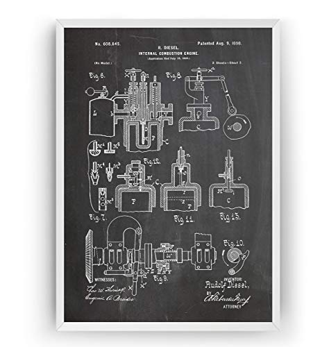 Diesel Internal Combustion Engine 1891 Patent Poster Prints Art - Page 2 - Engineer Gift Mechanic Merchandise Vintage Old Original Blueprint Collector Wall Decor - Frame Not Included