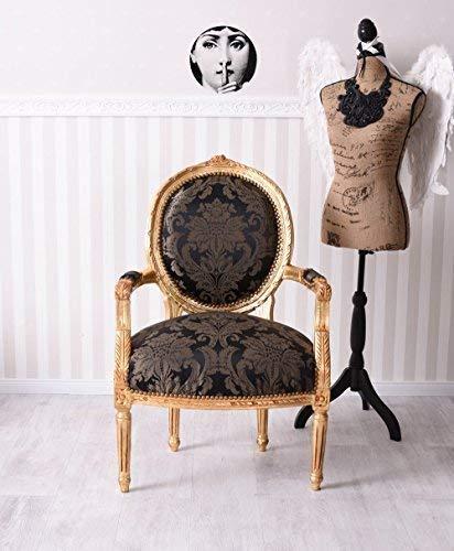 Antik Sessel Barock Armlehnstuhl Gold Schwarz Barocksessel Stuhl Palazzo Exklusiv