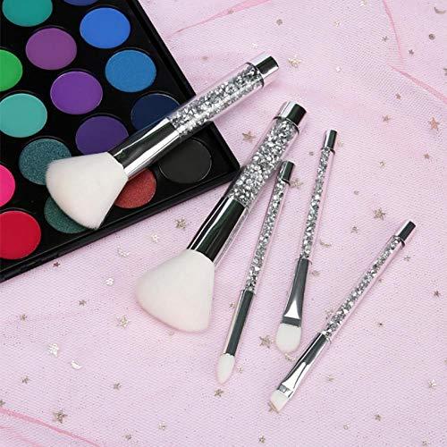 Terilizi Ensemble D'Outils De Maquillage 5Pcs / Set Brosses De Maquillage En Cristal De Diamant En Or Bleu Set Shinny Foundation Blending Face Brush Blanc