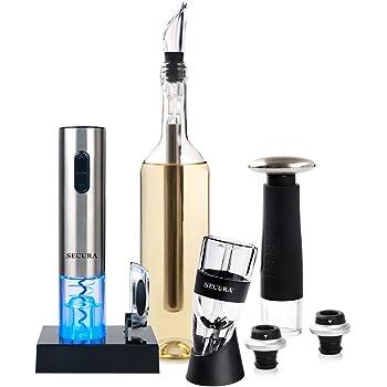 Secura 12-Piece Wine Accessories Set Electric Wine Opener, Wine Foil Cutter, Wine Aerator, Wine Saver Vacuum Pump and 2 Wine Stoppers
