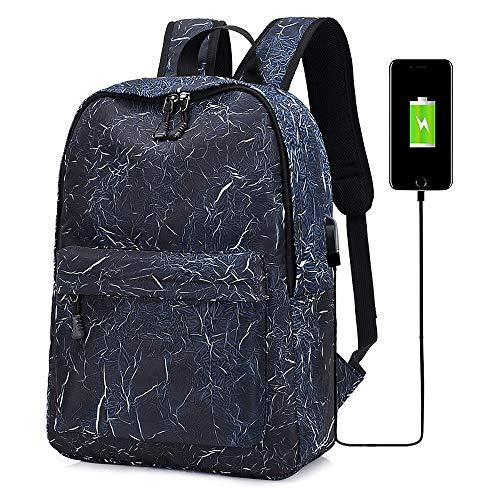 zzz Multifunción Moda Hombro Computadora Mochila Ocio Al Aire Libre Carga por USB Transpirable, Resistente Al Desgaste, Alta Capacidad A Prueba De Golpes Utilidad (Color : Blue)