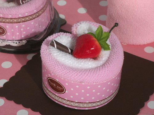 Sweet Treats Collection Strawberry heart shape cupcake towel favor From FavorOnline
