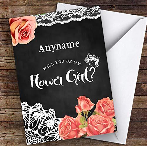 Krijt jute bloemen zal je mijn bloem meisje gepersonaliseerde groeten trouwkaart