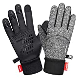 LANYI Winter Gloves Touchscreen Windproof Anti-slip Thermal Liner Gloves Outdoor Cycling Work Snowboard Driving Black Gloves for Men Women (Grey-B, M)