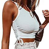 DREAM SLIM-Women's Round Neck Ribbed Crop Top-Casual Yoga Running Shirts Gym Workout Basic Tank Tops Sleeveless Vest(White, Small)