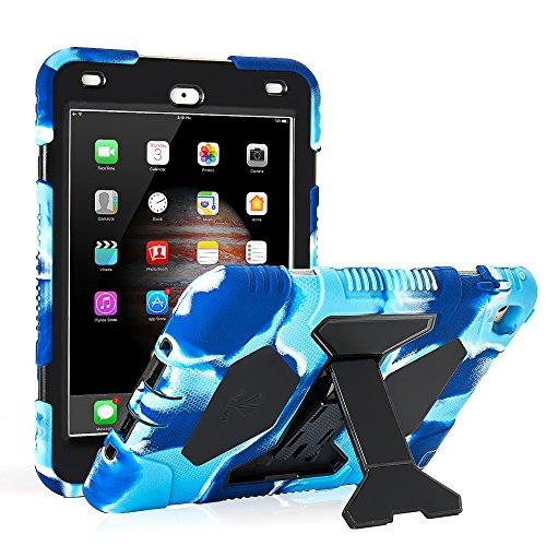 iPad Mini 4 Case ACEGUARDER Full Body Protective Premium Soft Silicone Cover with Adjustable Kickstand (Camo Blue)