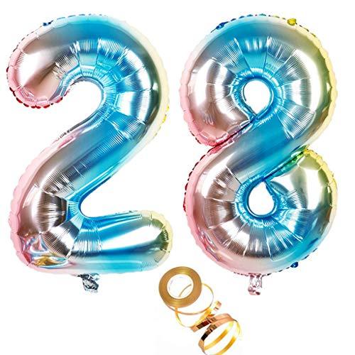 Globos de 100 cm con número 28 en arco iris para niñas y niños, decoración de cumpleaños número 28, globos de helio con números, tamaño XXL, 100 cm, decoración para bodas y cumpleaños